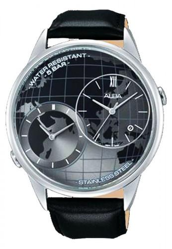 Alba black Jam Tangan Pria Alba Original Garansi Resmi AZ9009 AZ9009X1 Strap Black Leather Dual Time black 1D4B2ACDDBBDC4GS_1