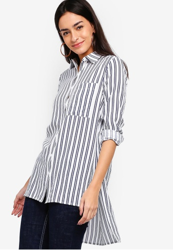 ZALORA white and navy Oversized Long Line Shirt 54F10AAA61FB11GS_1