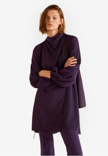 Mango purple Crossed Design Dress A854AAA7AD7F33GS_1