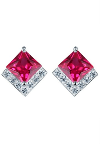 Vivere Rosse red Passione 925 Sterling Silver Stud Earrings VI014AC43TKMMY_1