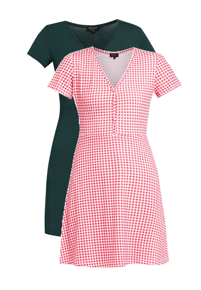 2 Pack ZALORA Dress Red BASICS Tea Gingham Essential Teal PPprwZxH