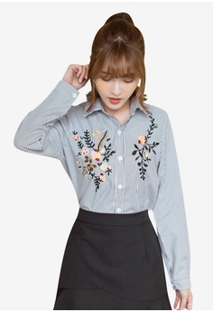 f40c9ea294a Tokichoi black and multi Floral Embroidered Buttoned Up Blouse  407EAAA5258476GS 1
