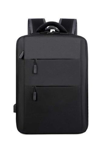 Lara black Men's Minimalist Plain Oxford Cloth Zipper Backpack - Black B3869AC0179457GS_1