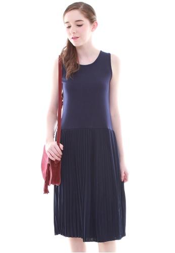 JOVET blue Pleated Basic Dress JO914AA45YMGSG_1