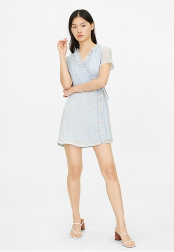 Pomelo blue Mini Floral Tied Waist Dress - Blue 4A84CAABA79F5DGS_1