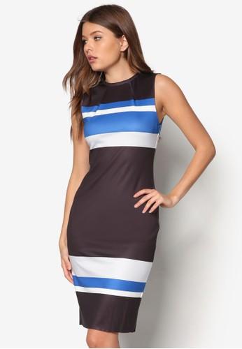條紋及膝連身裙, 服飾,zalora是哪裡的牌子 服飾