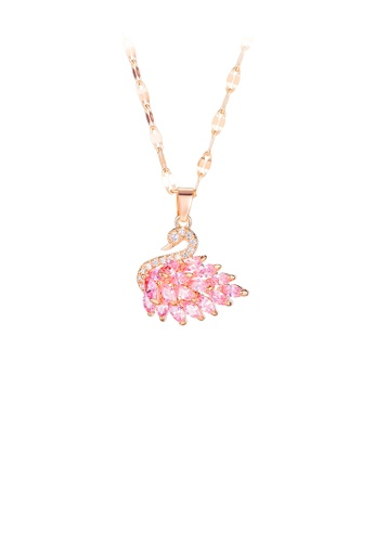 Glamorousky 銀色 時尚優雅鍍玫瑰金天鵝316L鋼吊墜配粉色鋯石及項鏈 4D9EDAC64D0C7AGS_1