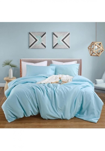 Bedding Day Bedding Day - Soft Microfiber Solid 700TC Fitted Sheet Set - Ice Blue A6461HL5638E10GS_1