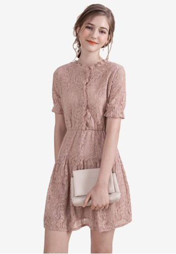 Eyescream pink Buttoned Down Lace Dress CFC81AA3E3F7AEGS_1
