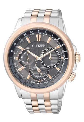 CITIZEN silver Citizen Eco-Drive Black, Rose Gold and Silver Stainless Steel Watch CFC14ACA828403GS_1
