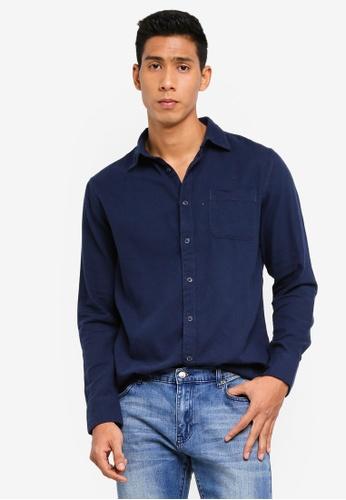 OVS 藍色 質感襯衫 9F8DFAAF9A99D7GS_1