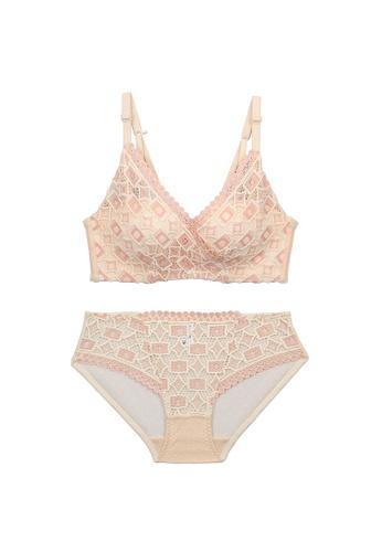 Midnight 粉紅色 Premium Lace Pink Lingerie Set (Bra and Underwear) 9BF15USE30ECE5GS_1