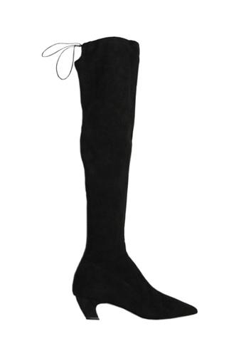 Twenty Eight Shoes 黑色 VANSA 羊絨彎形鞋跟過膝靴 VSW-B100B3 7B0EASHF8C1487GS_1