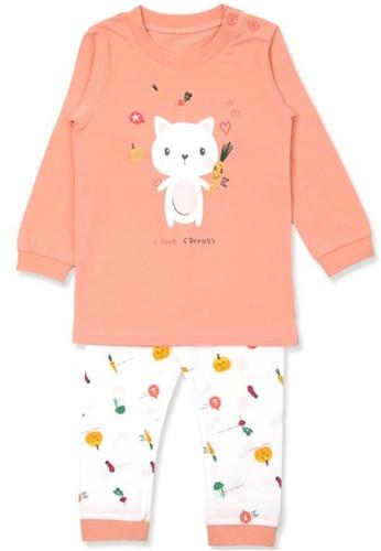 Organic mom orange Organic Cotton Cindy Kitty Lightweight Long Sleeves Pjs 88BD1KAA19A366GS_1