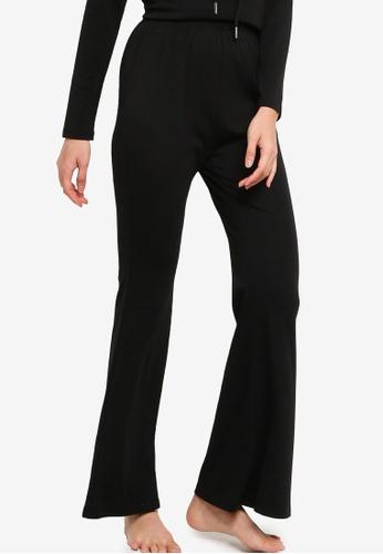 ZALORA BASICS black Lounge Jersey Flare Trousers 8A945AA2D44655GS_1