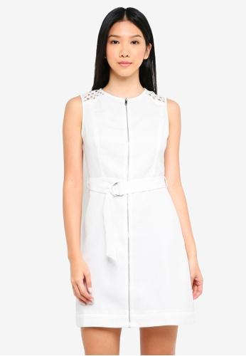 ZALORA white Lace Panel Utility Dress EFD29AA265C580GS_1