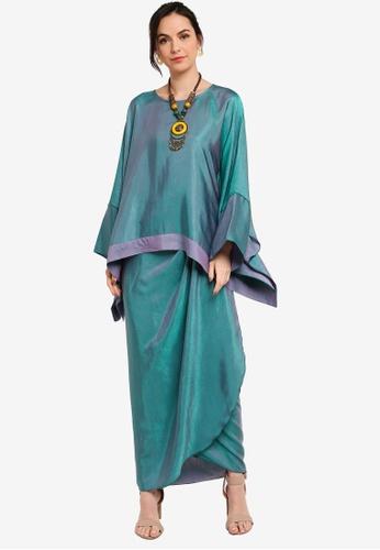 Yans Creation green ANGGUN Sleeve Kaftan Set 94796AA7377099GS_1