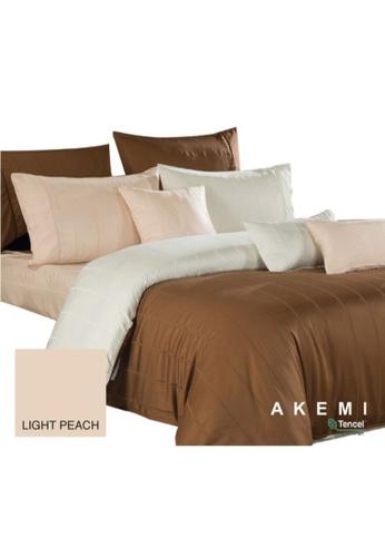 AKEMI AKEMI Tencel Modal Earnest Draven Stripes Light Peach Quilt Cover Set 800TC (King) ACACAHLB9A3623GS_1