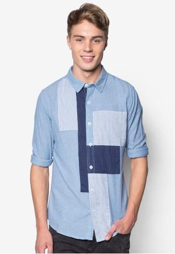 拼色短袖esprit服飾襯衫, 服飾, 襯衫