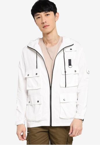 ZALORA BASICS white Tech Utility Hooded Jacket C16D1AAAB77272GS_1