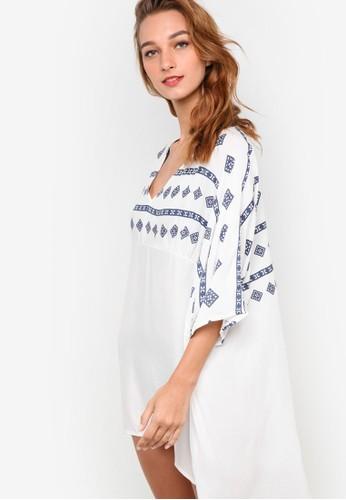 Asana 民族風印花拼肩長版罩esprit 台北衫, 服飾, 泳裝及沙灘造型