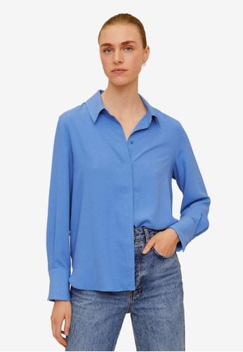 Mango blue Flowy Shirt F7CF7AA1089106GS_1