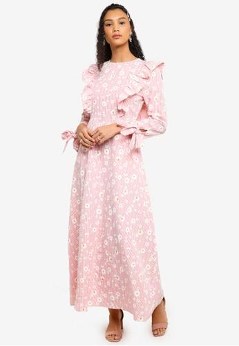 Lubna pink Ruffle Sleeve Dress D7BA0AA45CD4ADGS_1