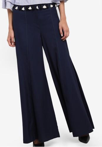 Buy bYSI Seam Detail Wide Leg Pants Online | ZALORA Malaysia