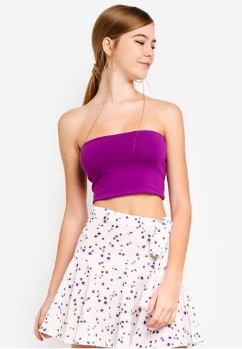 TOPSHOP purple Petite Jersey Boobtube B6B71AABF56106GS_1
