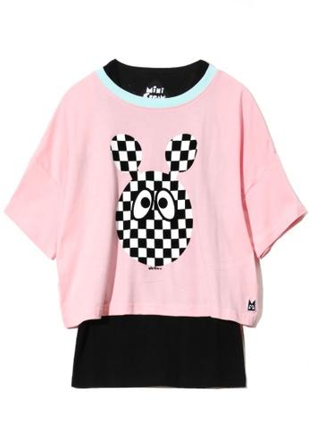 Mini cream pink Graphic print two-piece T-shirt CCBB0AA6DC7BDDGS_1