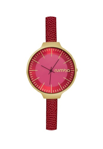 RumbaTime red and gold Rumbatime Orchard Leather Watch Merlot RU023AC92RTZHK_1