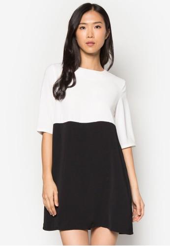 色塊直筒短袖連身裙, zalora 衣服尺寸服飾, 正式洋裝