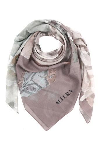 "Modest-Runway Inc. brown and multi and beige ALLURA ""Good Fortune"" Rose COTTON Scarf/Hijab B7BE4AA3462D78GS_1"