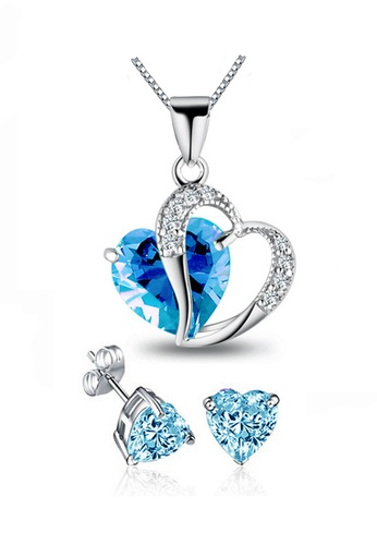 YOUNIQ silver YOUNIQ Aegean Sea 925 Sterling Silver Necklace Pendant With Blue Cubic Zirconia & Earrings Set 4AC32ACC4C1C0DGS_1