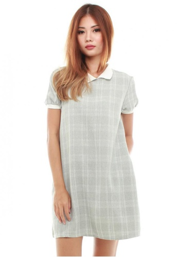 Sophialuv grey Carel Collar Shift Dress in Grey Checks B56DFAA601EB6DGS_1