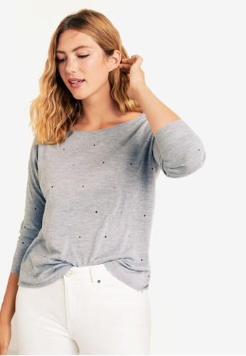 Violeta by MANGO grey Plus Size Glitter Stars Sweater 371B9AA7842AF9GS_1
