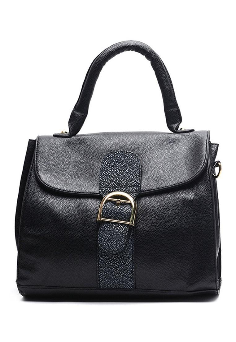 Korean Style Leather Top Handle Bag
