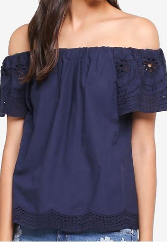 81838f204379a2 Buy Dorothy Perkins Navy Broderie Sleeve Bardot Top Online