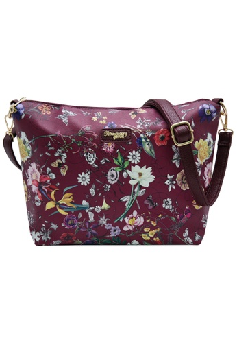 STRAWBERRY QUEEN red Strawberry Queen Flamingo Sling Bag (Floral AD, Wine Red) 6BD83ACCCAB104GS_1