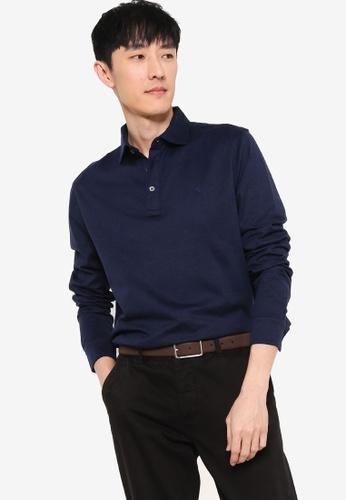 Polo Ralph Lauren navy Long Sleeve Knit Textured Knit Polo Shirt F70D2AAFC24E42GS_1