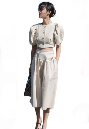 Sunnydaysweety beige Puff Sleeve Cropped Top with Wide-Leg Pants Set A21031912KI AB976AAEBC0B5BGS_1