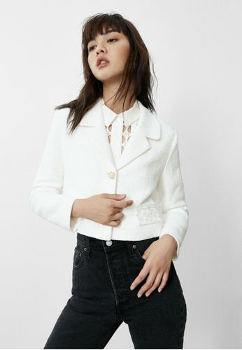 Pomelo white Tweed Double Button Cropped Jacket - White 37BEFAAD26B7ACGS_1