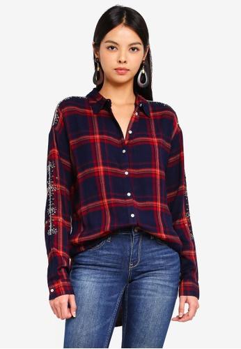 ONLY blue Pamela Check Shirt 6D3D1AA73D7BCCGS_1