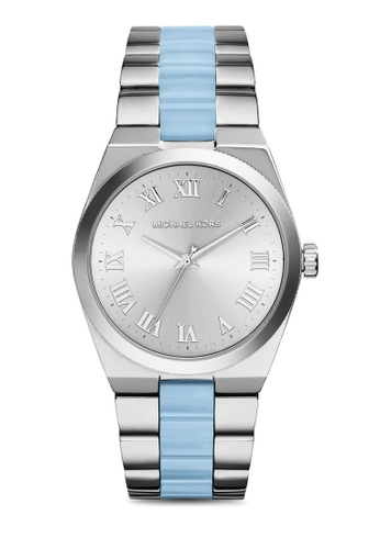 MICHAEL KORS blue and silver Silver Steel / Blue / Silver Michael Kors Channing MK6150 MI165AC49AIWMY_1