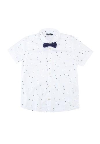 LC Waikiki white Boy Short Sleeve Poplin Shirt & Bow Tie FA9F4KA2D1860AGS_1