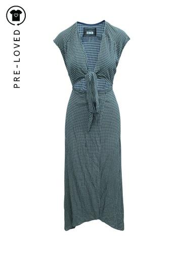 Reformation blue Pre-Loved reformation Maxi Checked Wrap Dress FA0EDAA06A3B5DGS_1