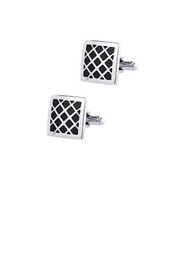 Glamorousky silver Simple and Fashion Grid Black Geometric Square Cufflinks 3E51EAC3E79CCBGS_1
