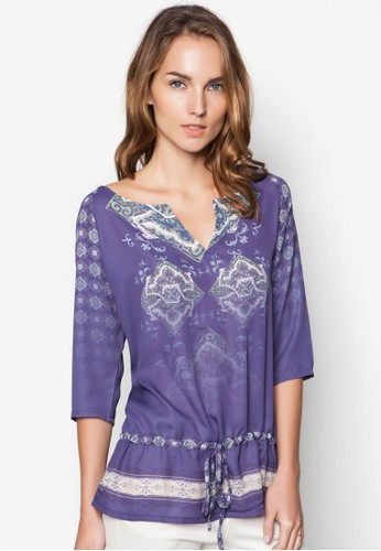 Zidede 印花抽繩七分zalora時尚購物網的koumi koumi袖上衣, 服飾, 上衣
