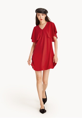 Pomelo red Adrianna Mini Drape Sleeve Dress - Red B4F67AAD878FC0GS_1