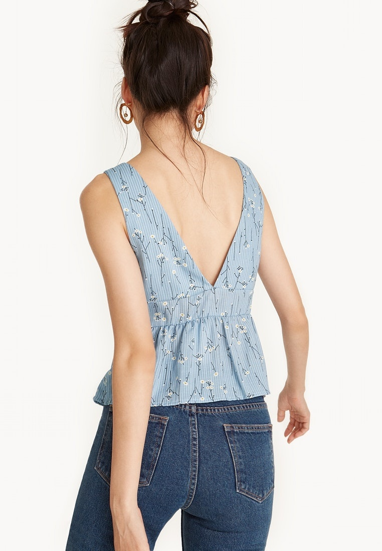 Pomelo Flounce Crop Blue Floral Plunging Tank r4ZwExf4Bq